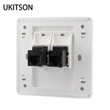 Portas 2 CAT6 RJ45 Internet LAN Conector Do Painel Frontal Para Gigabit N Painel de Parede Cor Branca