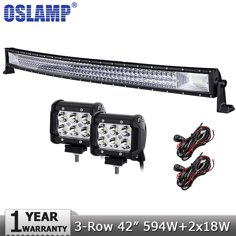 Oslamp 42 594W 3-Row Curved LED Light Bar Offroad Combo Beam+2x18W Spot Flood Led Work Light Bar 12v 24v Truck SUV ATV 4WD 4x4 dali 16 1 11в
