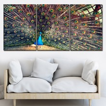 Modular Picture For Living Room 3 Pcs Animal Peacock Open Screen Canvas Painting Wall Art Print Type Poster Decorative Framework