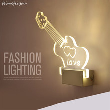 Feimefeiyou Guitar shape LED wall Light bedside lamp modern living room corridor hallway stairs Pathway Wall Sconce Lighting(China)