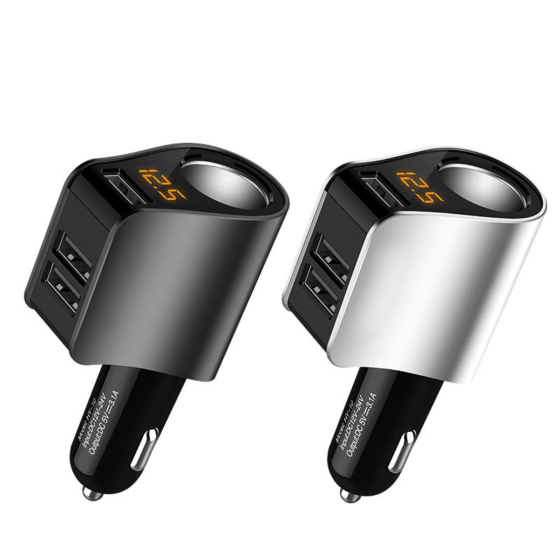 Vorcool Ec2 Dual Usb Car Charger 4 In 1 3.1a 12v-24v 2 Port Usb Adapter Over Current Protection And Temperature Display Cables, Adapters & Sockets Automobiles & Motorcycles