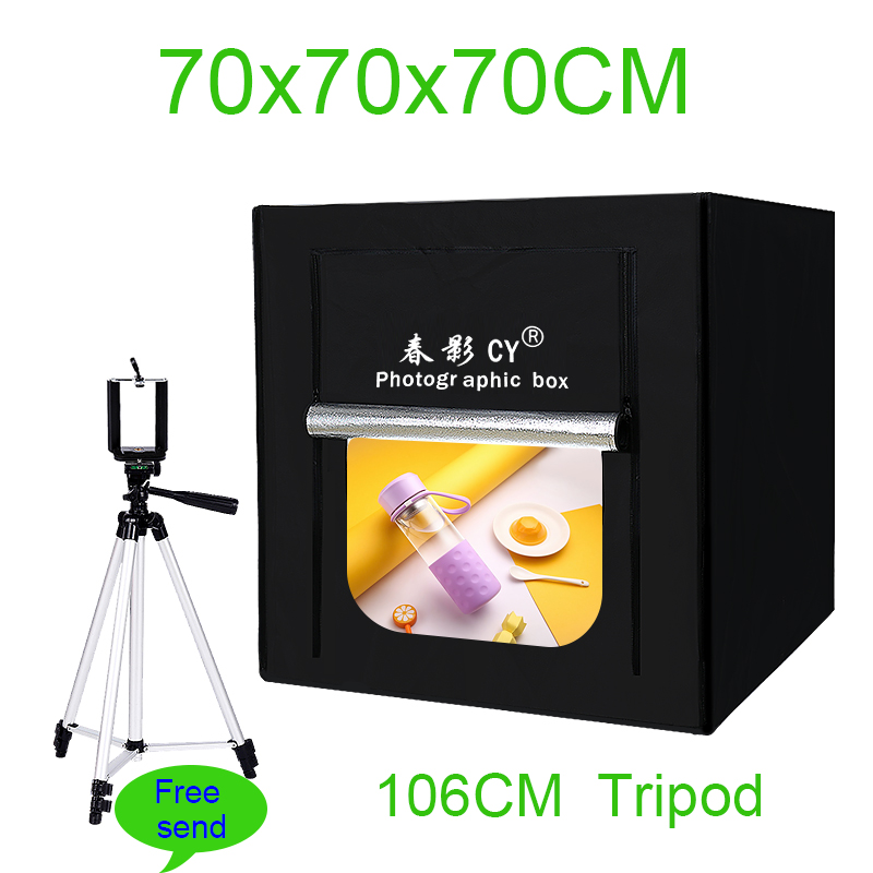 CY 70cm LED Photo Studio Softbox Light Tent Soft Box fotostudio Dimmable photo light box for Phone Camera DSLR Jewelry Toy Shoes professional photographic equipment camera softbox with light stand photo studio soft box for dslr photography studio light box