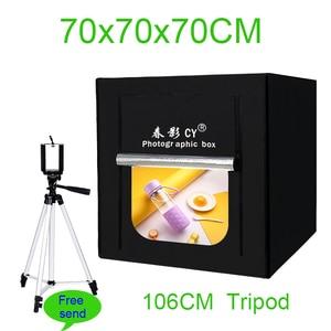 Image 1 - CY caja de luz LED para estudio fotográfico caja de luz suave para estudio fotográfico, regulable, para cámara de teléfono, DSLR, joyería, zapatos de juguete, 70cm