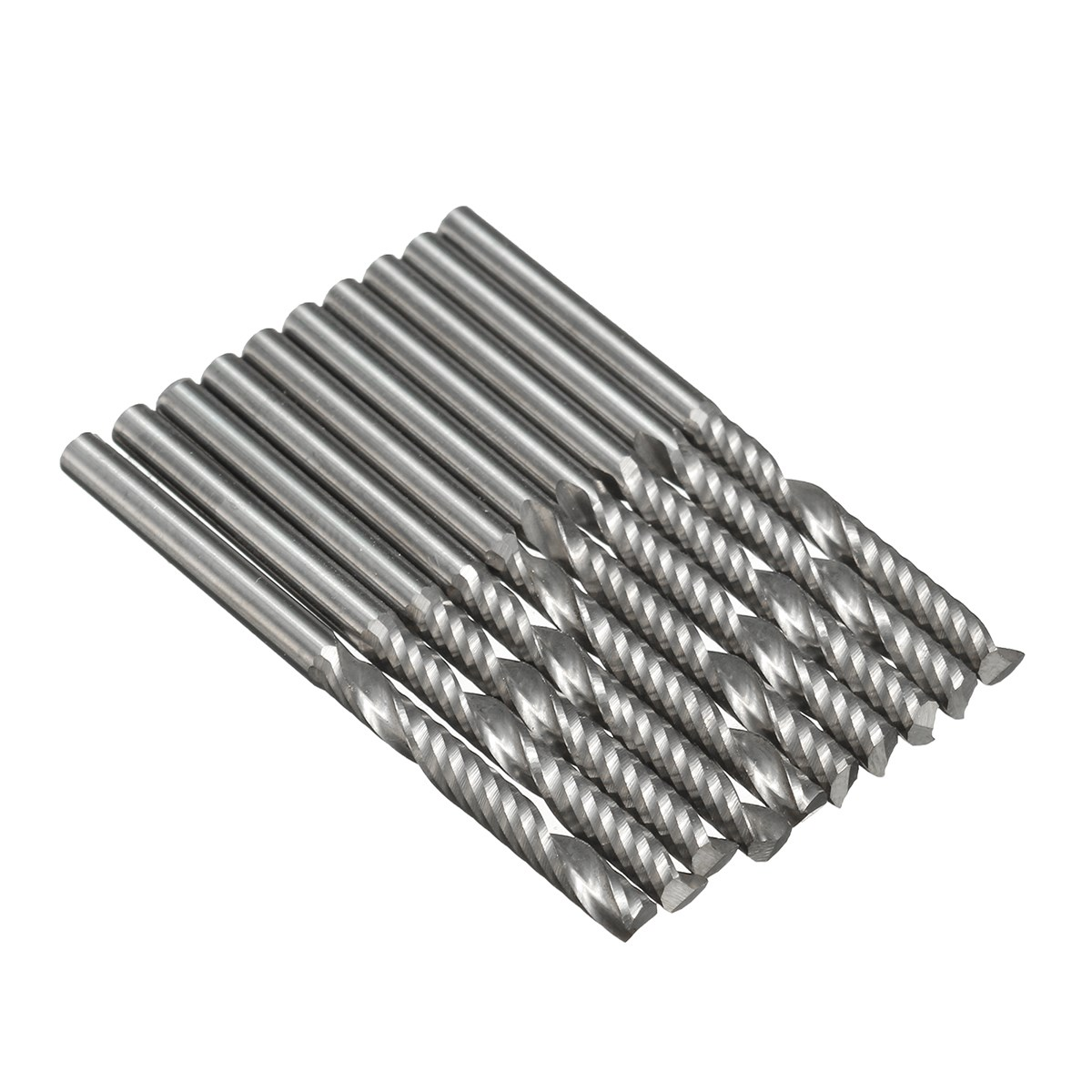 10pcs/Box 1/8 Inch 3.175x25mm Shank 1 Flute Carbide Spiral End Mill CNC Router Bit Tool For Acrylic PVC Wood And Other Materials 3 175 12 0 5 40l one flute spiral taper cutter cnc engraving tools one flute spiral bit taper bits