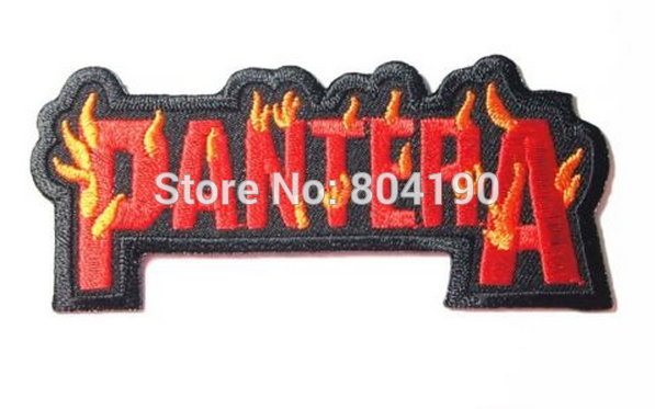 Pantera Flame Fashion Embroidered Iron On Sew On Patch Rock Band COSTUME PATCH EMBLEM Free shipping