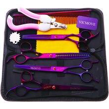 VICMOVE-Conjunto de tijeras Para cuidado de mascotas, juego de tijeras rectas y curvadas de 7 pulgadas Para cortar perros y gatos