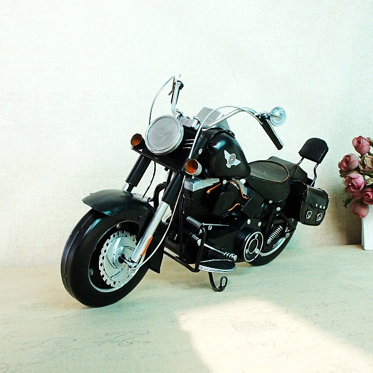 Handmade metal to create classic exquisite motorcycle ornaments DIY handmade metal gift home 052SMT christmas decorations in Figurines Miniatures from Home Garden