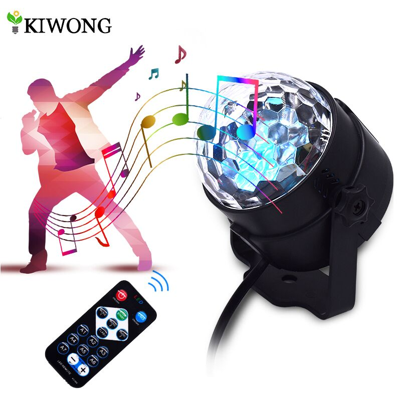 LED Disco Ball Party lights Sound Activated for Parties 7Colors Water Wave Ocean Projector Strobe Light for Home Stage Wedding