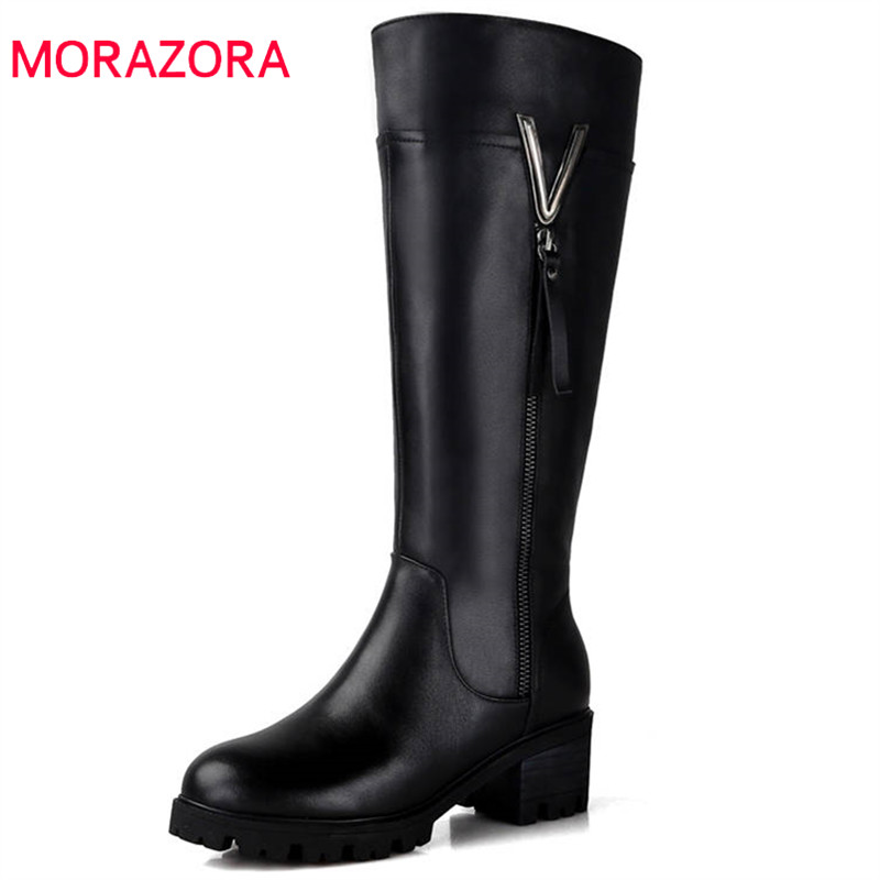 MORAZORA 2018 vendita calda stivali alti al ginocchio delle donne del cuoio genuino naturale stivali di lana della chiusura lampo tenere in caldo inverno stivali da neve scarpe