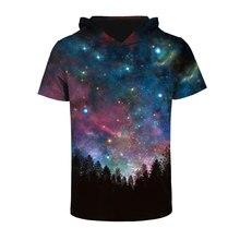Mr.1991INC Space Galaxy T-shirt Men/women Fashion 3d T shirt Print Stars Night Trees Hooded T-shirt With Hat Tops Tees