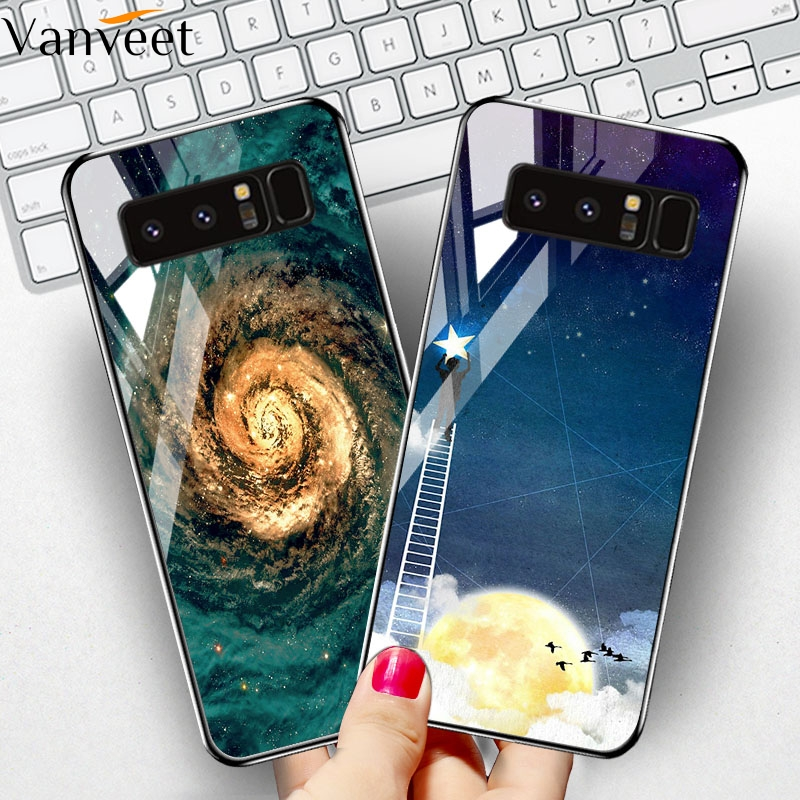 Vanveet Glass Case For Samsung Galaxy Note 8 Case Coque For Samsung Galaxy Note8 Case Painted Cover Back Bag Fundas Housing Hood in Fitted Cases from Cellphones Telecommunications