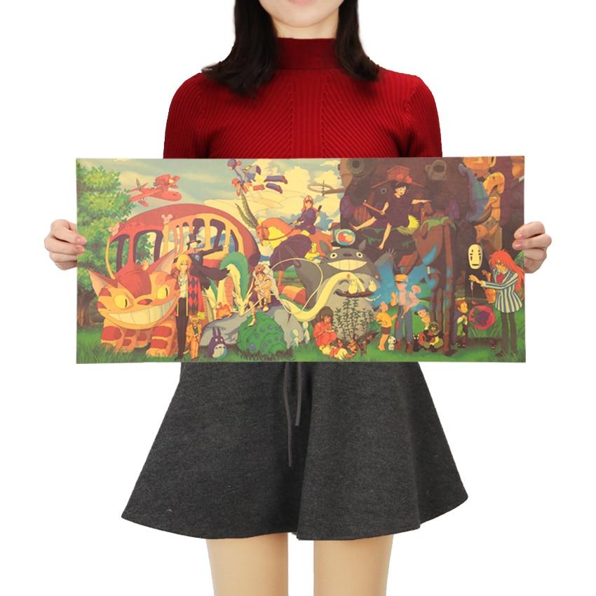 Hayao Miyazaki Large Collection Of Japanese Anime Vintage Kraft Decorative Poster Room Decoration Wall Sticker 71x32.5cm