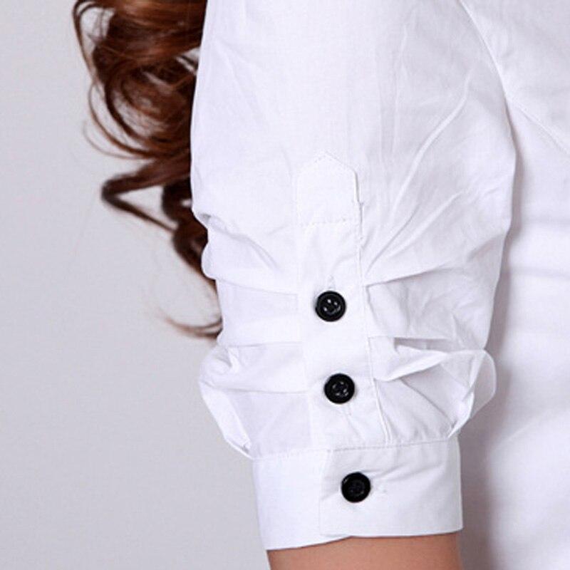Moda Ofisi Xanım Ağ Pambıqlı Bluza Plus Ölçü S-3XL Botton - Qadın geyimi - Fotoqrafiya 3