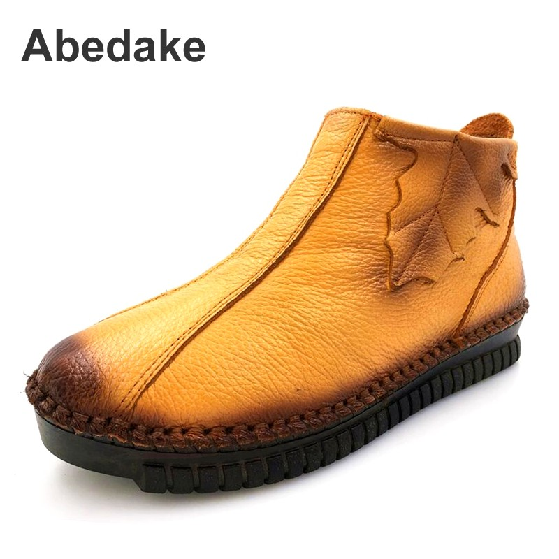 Abendake brand women boots 2017 winter zip casual handmade genuine leather ankle boots autumn &Winter warm boots plus size