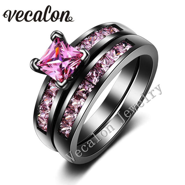 vecalon new fashion women engagement wedding band ring set pink stone aaaaa zircon cz 10kt black - Black And Pink Wedding Ring Sets