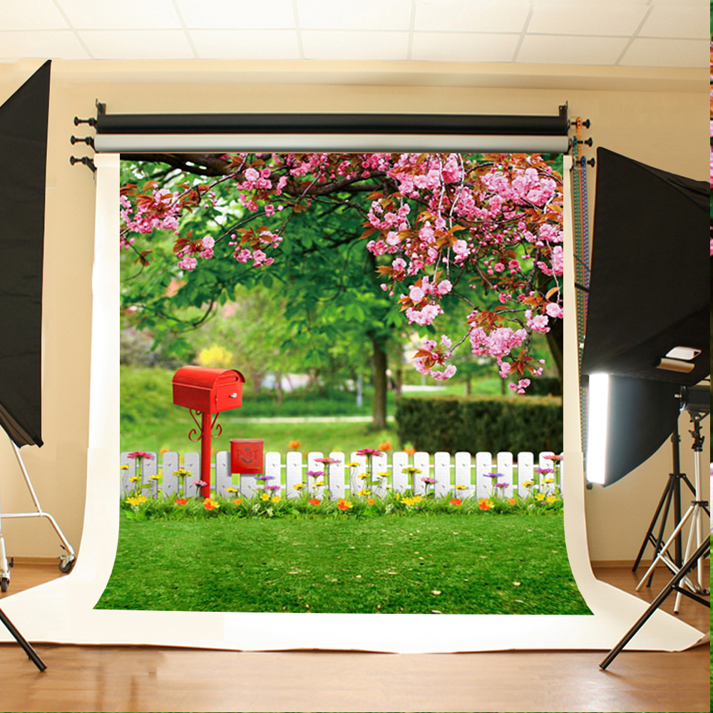 Wedding Photography Background Pink Flower Tree Photo Booth Backdrops Mailbox White Fence Background for Photography Studio wedding photography background red flower tree photo booth backdrops ground brick wedding background for photographic studio