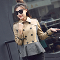 New Real Sheepskin Leather Young Women Spliced Jacket Natural Leather Lady Spring Autumn Parka Sweet Khaki Fashion Coat