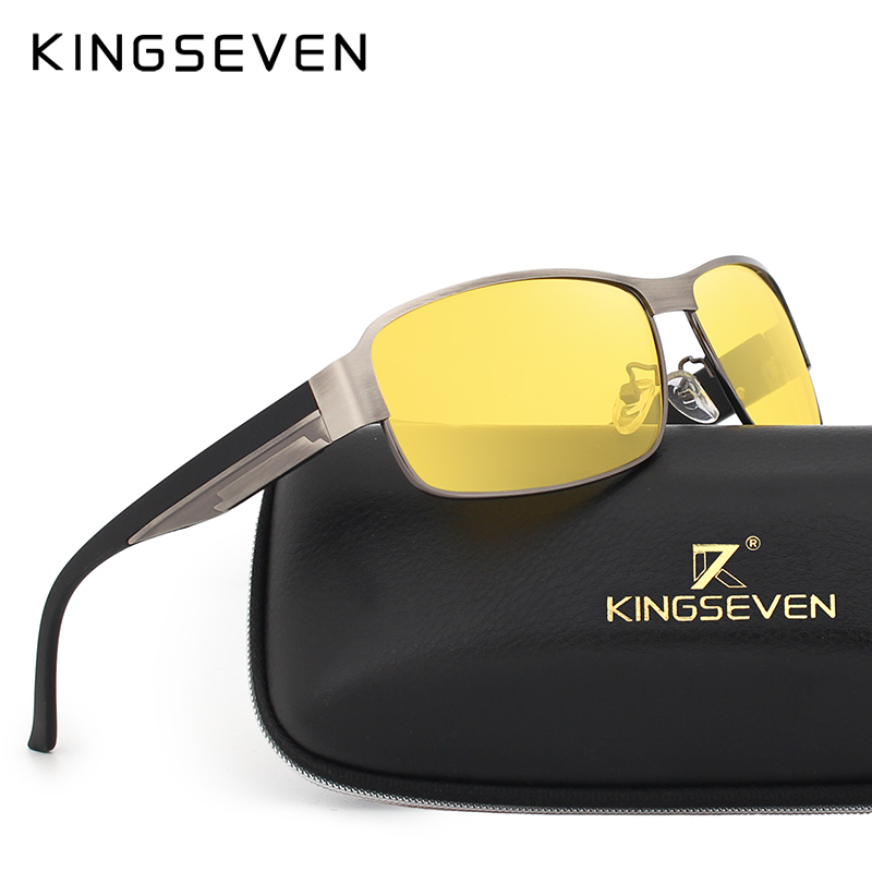 KINGSEVEN Night Vision Sunglasses Men Goggles Yellow Driving Eyewear Man Polarized Sun glasses for Night gafas de sol