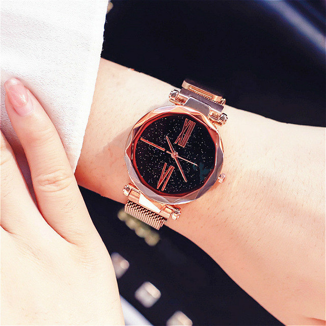 197806991 Luxury Ladies Starry Sky Watch Rose Gold Women Bracelet Watches Magnetic  Bukle Mesh Female Watch Fashion