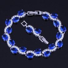 Admirable Oval Egg Dark Blue Cubic Zirconia White CZ 925 Sterling Silver Link Chain Bracelet 18cm 20cm For Women V0056