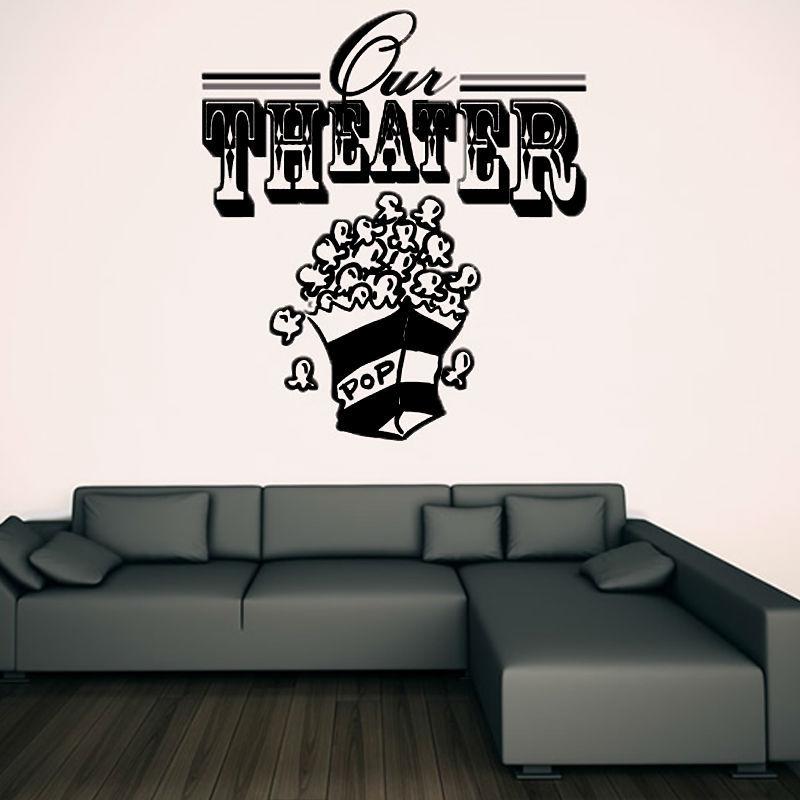 dctop venta caliente vinilo removible teatro palomitas de maz en forma de etiqueta de la pared