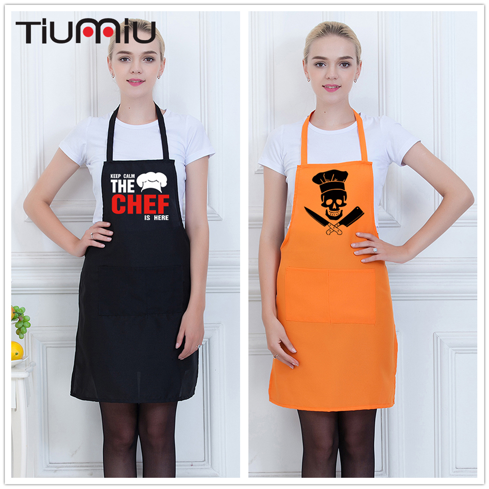 Funny Skull Printed Chef Apron Chef Keep Calm Strapped Halter Neck Aprons Restaurant Hotel Kitchen Workwear Aprons Work Uniforms