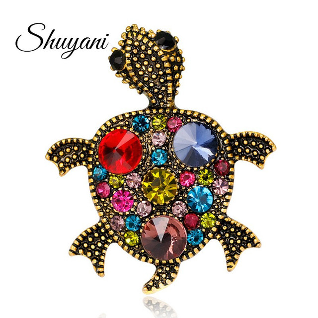 Shuyani Vintage Gold Tortoise Brooch Women Kids Clothes Accessories  Crystals Turtle Animal Pin Up Brooches Suit a4f1878ac984