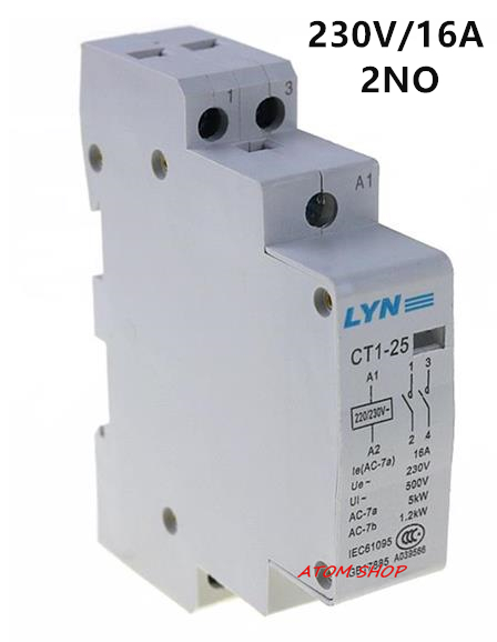 CT 2P 16A 220V 2NO household AC contactor /Household contact module LYN ct 2p 25a no nc ac220v home ac contactor often open ct1 25 25a lyn brand