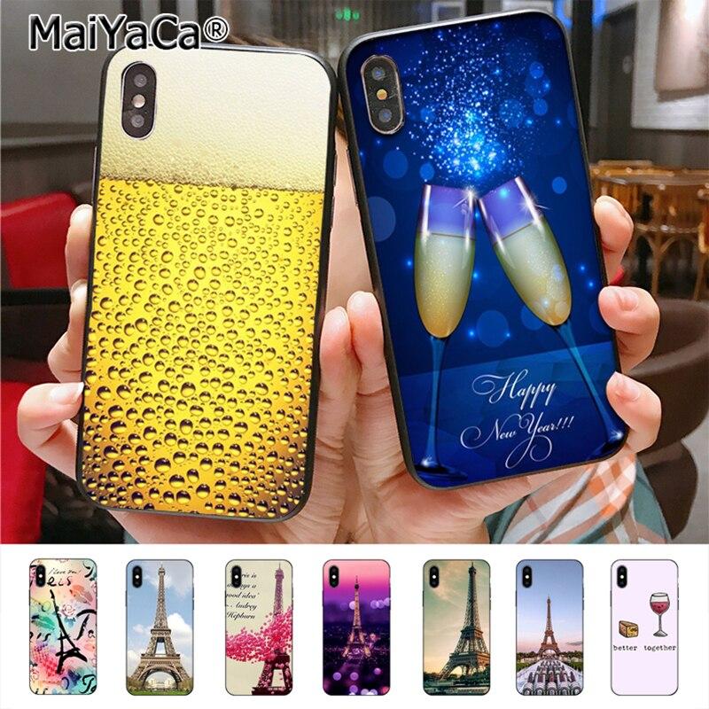 MaiYaCa Медведь Эйфелева башня очаровательны Цветной рисунок телефон аксессуары чехол для Apple iPhone 8 7 6 6 S Plus X 5 5S SE 5C Касс