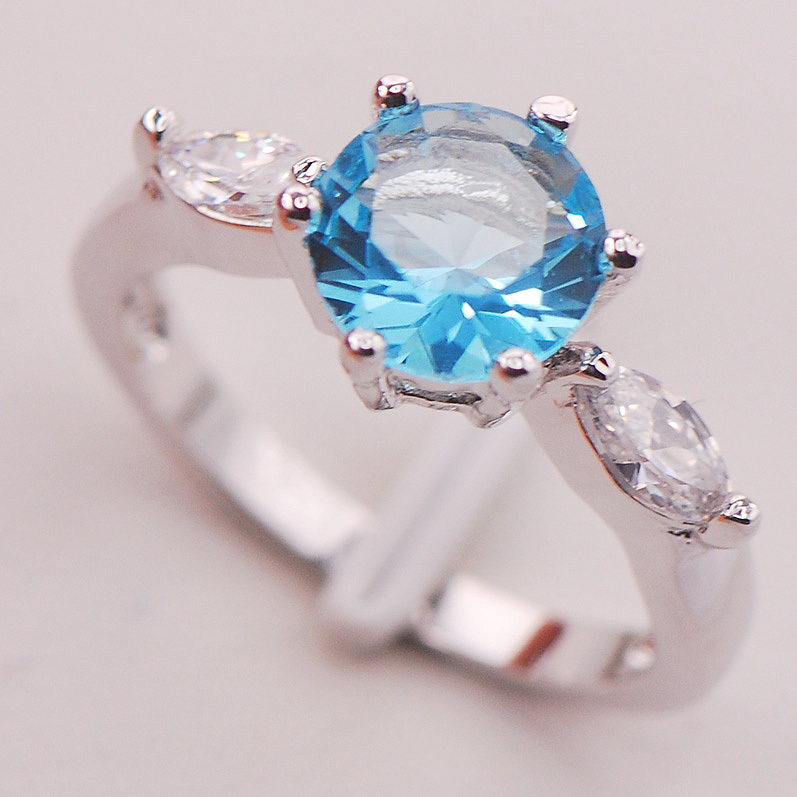 Simulated Aquamarine Women 925 Sterling Silver Ring F740 Size 6 7 8 9 10