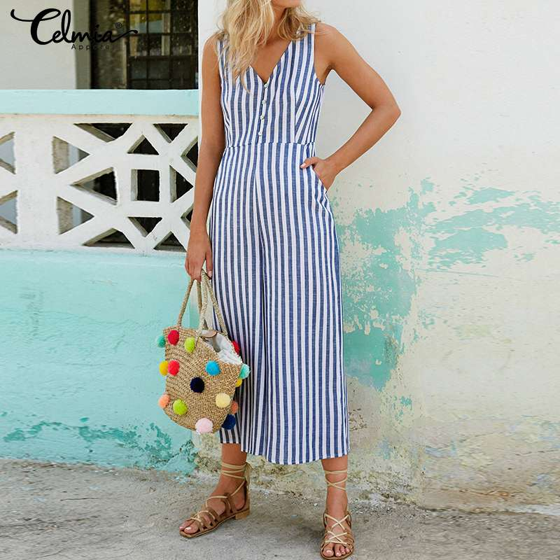 Vintage Striped Rompers Women's   Jumpsuits   2019 Plus Size Celmia Ladies V-neck Casual Buttons Loose Wide Leg Pant Summer Overalls