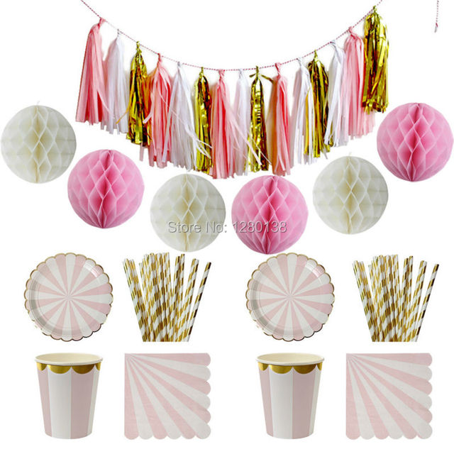 Pink and Gold Foil Striped Paper Plates Cups Party Napkins StrawsBaby Shower Decor Tissue  sc 1 st  AliExpress.com & Pink and Gold Foil Striped Paper Plates Cups Party Napkins Straws ...