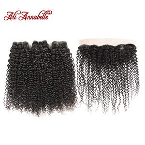 Image 1 - ALI ANNABELLE HAIR Brazilian Human Hair With Closure 3 Bundles Brazilian Kinky Curly Hair with Lace Frontal 100% Remy Hair