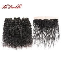 Mèches Remy brésiliennes avec Closure ALI ANNABELLE HAIR, cheveux Remy crépus bouclés, 100% cheveux naturels, avec Lace Frontal, en lot de 3