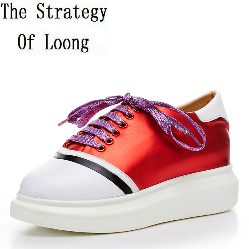 Spring Autumn Casual Concise Comfortable Bright Leather Flats Pretty Lace Up Genuine Leather Chunky Low Cut Women Shoes ZY170828