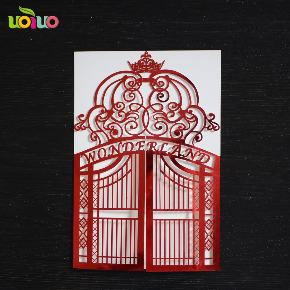 Royal elegant gate fold laser cut paper wedding invitations elegant ...
