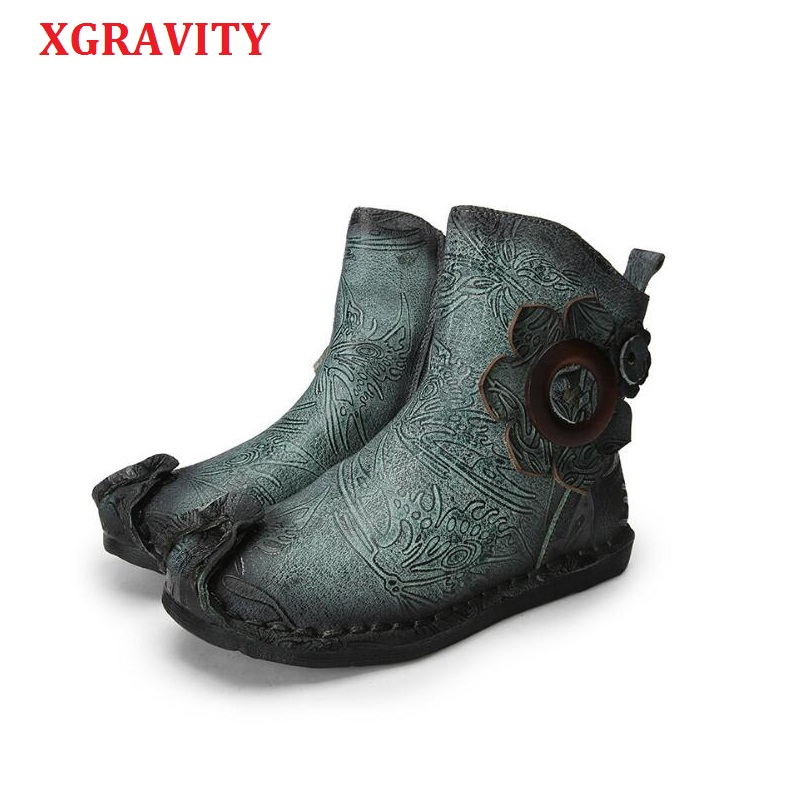 XGRAVITY 2 Colors Cow Genuine Leather Women Ankle Short Boots Designer Flower Unique Woman Fashion Boots Lady Autumn Shoes A029