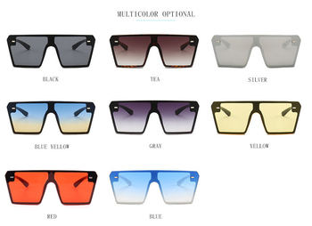 Oversized Square Sunglasses Women 2019 Luxury Brand Fashion Flat Top Red Black Clear Lens One Piece Men Gafas Shade Mirror UV400 10