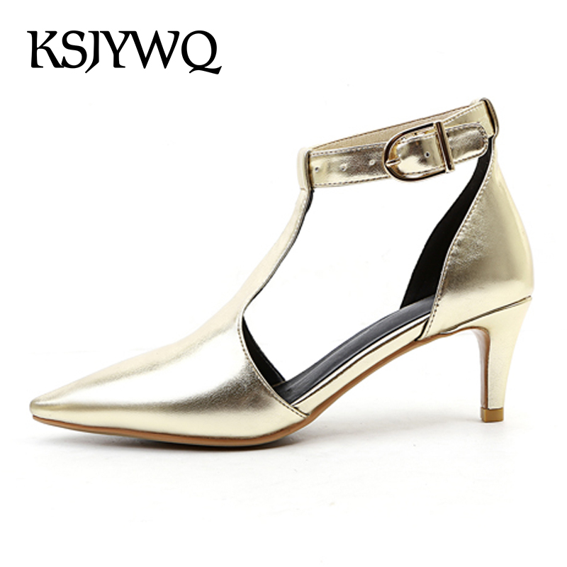 KSJYWQ 2018 Silver Women Sandals 6 CM High Heels Genuine Leather Pointed-toe Buckle Pumps Summer Dress Shoes Box Packing A41 ksjywq genuine leather flowers women sandals sexy exposed toe white shoes summer style clip toe shoes woman box packing a2571