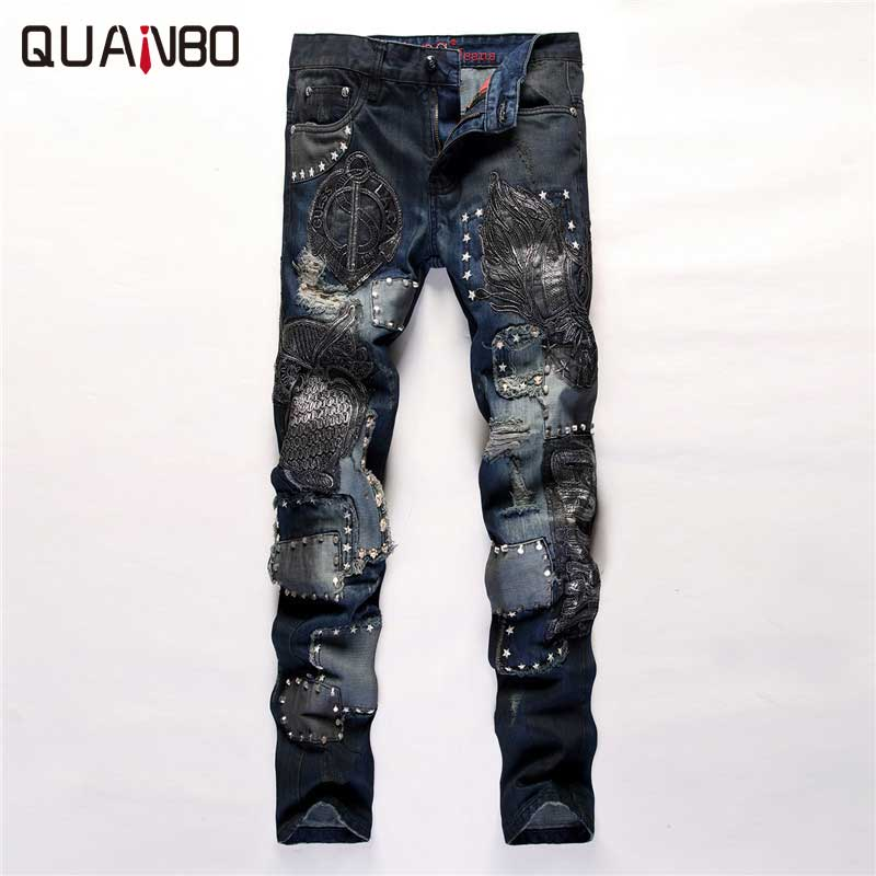 2018 New Arrival Designer Pants Fashion Embroidery Spliced Patchwork Punk Rock Star Rock nightclubs singers Jeans Slim