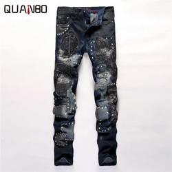 2019 nueva llegada pantalones de diseñador bordados de moda Patchwork Punk Rock estrella Rock nightclubs jeans de cantante Delgado