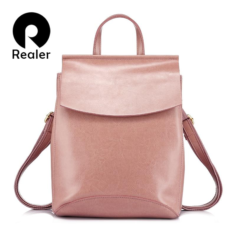 REALER women shoulder bag female multifunctional cow split leather backpack for teenage girls backpack student mochila