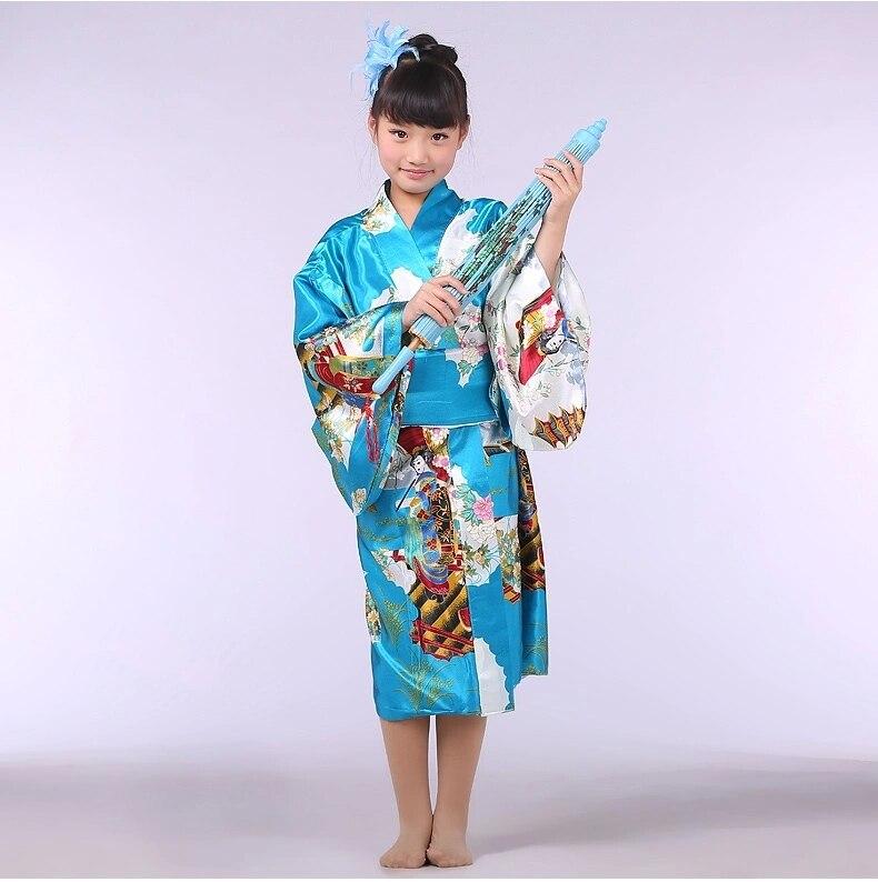 La luz azul tradicionales bebé chica Kimono Kid Yukata niño etapa trajes de baile vestido de