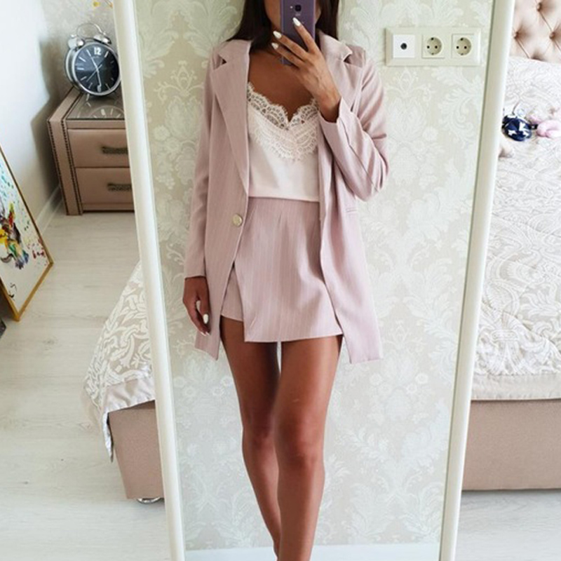 Fashion Women Skirt Suits One Button Notched Striped Blazer Jackets and Slim Mini Skirts Two Pieces OL Sets Female Outfits 19 5