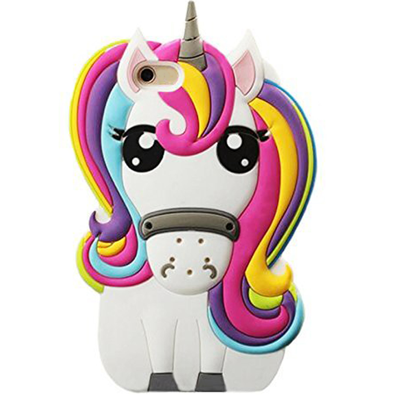 Rainbow Unicorn Case For Phone 6 7 8 X , 3D Cute Cartoon Horse Animal Soft Silicone Rubber