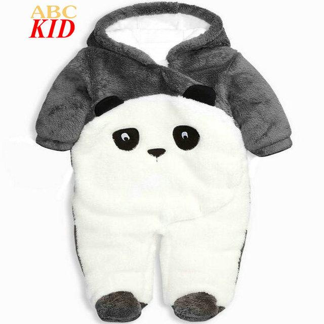 Pingüino de la historieta de la Panda de Invierno Grueso Fleece Mono Onesie Footed Pajamas Bebes Recién Nacidos de Los Mamelucos Del Bebé Monos Infantiles KD293
