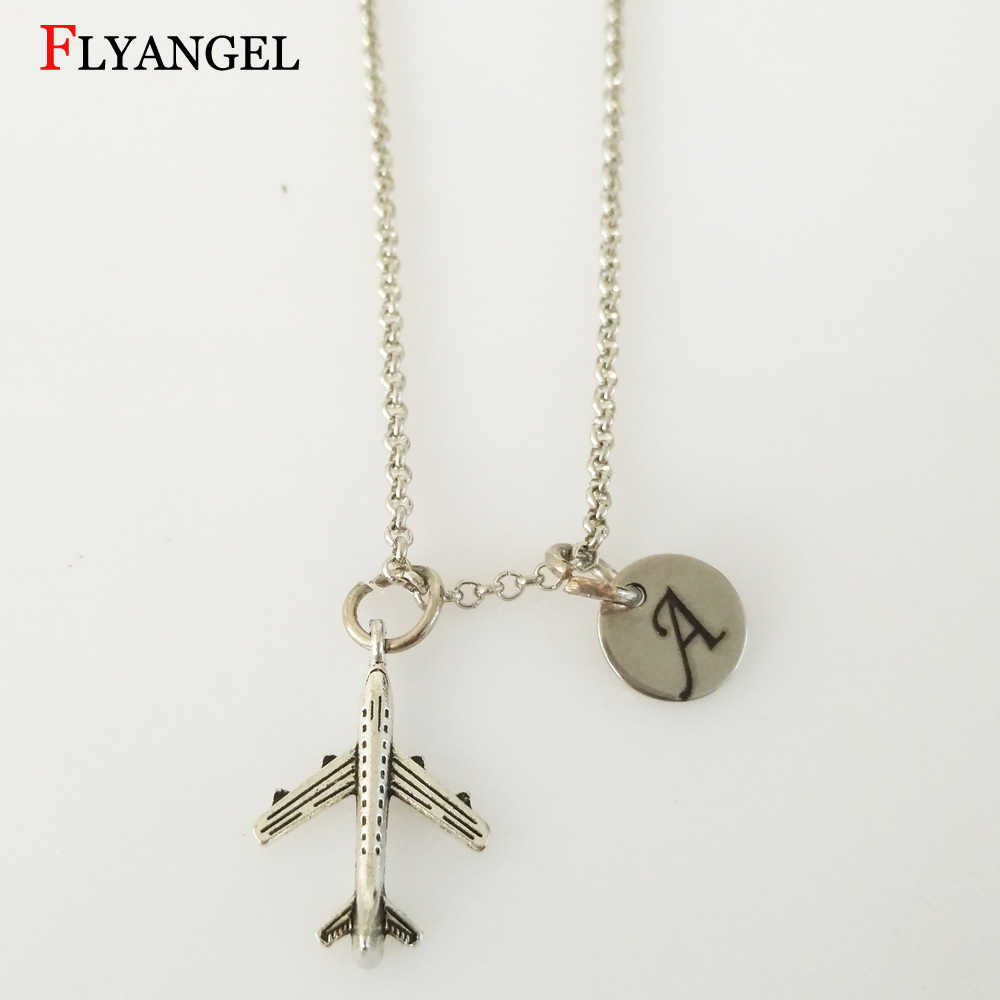 Customized Initials Air Plane Necklace For Women Men Aircraft Pendant Alloy Chain Pendants&Necklaces Gift Jewelry