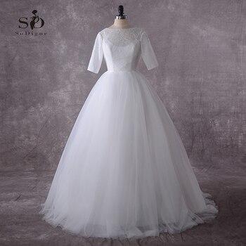 White Lace Wedding Dress 2018 Plus size Lace-up Simple Bridal Dress Cheap Half -sleeves Vestido de novia Fast Shipping цена 2017