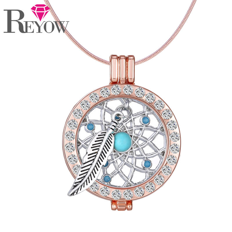 Rose Gold Rhinestone Crystal Locket Dream Catcher Coin Pendant Snake Chain Necklace Aromatherapy Essential Oil Diffuser Jewelry