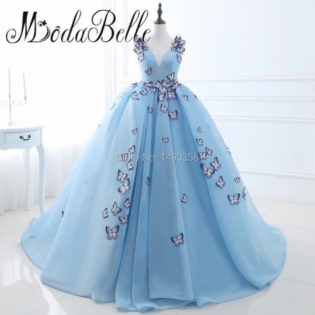 Unique 3D Embroidery Butterfly Ball Gown Wedding Dress Princess Robe ...